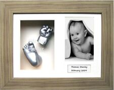 New Baby Gift 3D Plaster Casting Kit with Oak eff. Frame Silver Hand Foot Casts