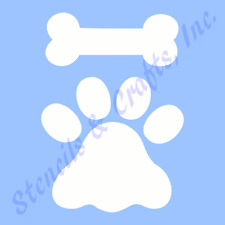 "PAW PRINT STENCIL BONE STENCILS TEMPLATES CRAFT SCRAPBOOK TEMPLATE NEW 6"" X 5"""