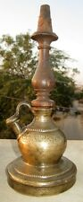 Antique Very Rare Old Collectible Wooden Brass Islamic Hookah Pot
