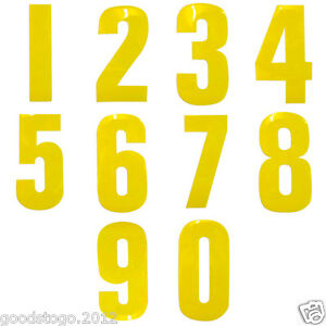 "YELLOW 7"" INCH WHEELIE BIN HOUSE NUMBER VINYL LABELS STICKERS SELF ADHESIVE 0-9"