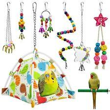 New listing Katumo Bird Parrot Toys, Nest Hut Hanging Habitat Tent Colorful Wood Beads Perch