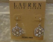 Cluster Drop Earrings Orig. $36 Nwt Lauren Ralph Lauren Silver-Tone Crystal