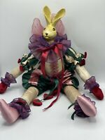 """Vintage WHITE RABBIT DOLL ALICE IN WONDERLAND Medieval Clothes With Hearts 11"""""""
