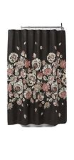 Threshold Shower Curtain Coral Floral Dark Grey 100% Cotton 72 X 72 New Bathroom