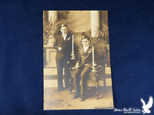 Antique Photo Religious 2 Boys Confirmation? Rosary Beads Bibles Candles Crosses