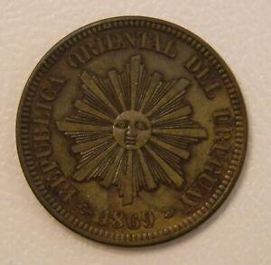 Uruguay 2 centesimos 1869A; K-12