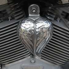 Angel Wing Heart horn cover in aged aluminum.  Harely Davidson. HRT-AW