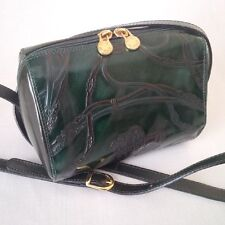 MARCO RICCI LEATHER EMBOSSED EQUESTRIAN SHOULDER BAG GREEN MADE IN ITALY