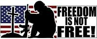 """Freedom is Not Free Sticker Decal 2.75"""" x 6.75"""" Army Navy Air Force Marines POW"""