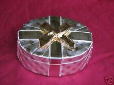 Martinique Silver Plated Oval Jewelry Box With Gold Bow