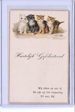 Vintage 4 Cats Or Kittens In A Row Postcard W.V.L. #251 Foreign