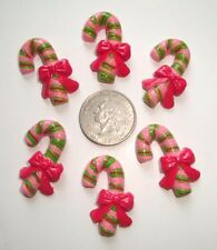 6PC RETRO CHRISTMAS CANDY CANE PINK LIME FLATBACK RESINS 4 HAIRBOW BOW CENTER