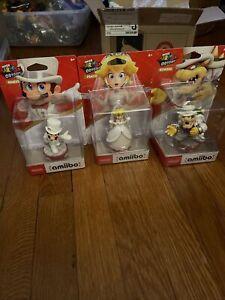 Nintendo Super Mario Odyssey Wedding amiibo 3-pack New Sealed Mario Bowser Peach