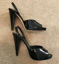 BALLY Black Patent Leather High Heel Sandals Shoes Size US 8.5 EU 39 Retail $395