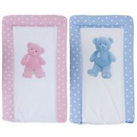 New Baby Teddy Bear Deluxe Padded Easy Clean Changing Mat Pink Blue 48cm x 78cm