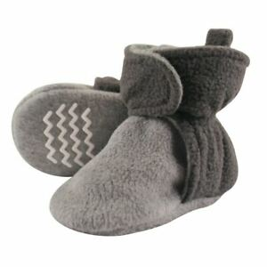 Hudson Baby Baby Fleece Lined Scooties with Non Skid Bottom, Charcoal and Cream