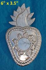 Perpetuo Socorro Art Mexican Handmade Heart Tin Ornament Mirror Milagro 2/$16