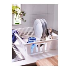 IKEA FLUNDRA Plastic Dish Drainer Cutlery Drying Rack Organiser w/ Glass Holders