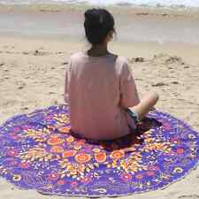 Polyester Thick Round Beach Spa Bath Swimming Towel Tapestry Tassel Mat 145cm
