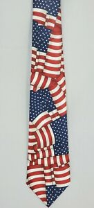 Men's Flag Necktie US American Flags Stars and Stripes Patriotic Neck Tie