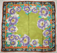 Designer EMANUEL UNGARO Multicolor FLORAL Purple Green Hand Rolled Silk 31 SCARF