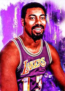 2021 Wilt Chamberlain Los Angeles Lakers 4/25 Art Print Card By:Q