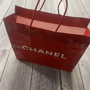 Authentic Chanel Reusable Paper Shopping Gift Bag 11x12x4 inch Red Rope Handle