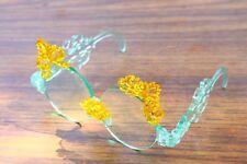 Unique Cool Designed Sunglasses Laser Cut Aqua Mint Blue Yellow Runway worn Bs