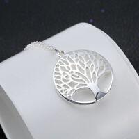 Halskette Frauen Baum Silber Blätter Hohl Kettemit Anhänger Geschenk Neu Sa X6P6