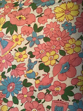 Vintage Cotton Fabric Fun Flowers People Bunny Bird 1940's Pink Yellow 35 By 36