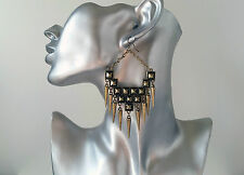 "Big! antique look GOLD tone punk style spike & chain drop earrings, 4"" long"