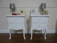 Pair Of French Style Rococo Two Drawer Bedsides Cabinets In White