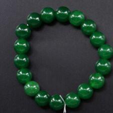 Round Gemstone Beads Bangle Bracelet Dark Green Jade Stretchy Natural 10mm