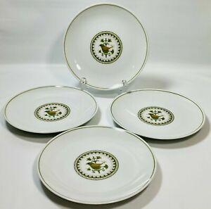 "SET OF 4 Noritake China Hermitage 6226 Dinner Plates 10 1/2"" Green Birds Floral"