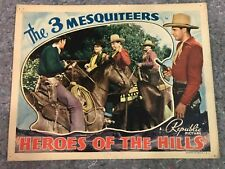 """HEROES OF THE HILLS 1938 ORIG. LOBBY CARD 11""""x14"""" (F/VF) THE 3 MESQUITEERS RARE"""
