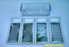 KiMee Set of 4 Stainless Steel Graters With Plastic Measuring Container