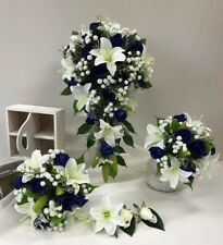 SILK WEDDING BOUQUETS WHITE LILY NAVY BLUE ROSES WHITE GYP TEARDROP FLOWERS SET