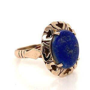 Classic Lapis Lazuli Dress Ring - 9k Yellow Gold - Sz K1/2 - FREE POST