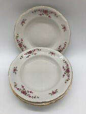 Chodziez Vintage Salad Plates Made In Poland 4 In Lot/ Red/ Pink Roses/ China/