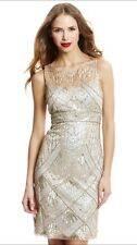 SUE WONG Champagne Silver Beaded Sequin Wedding Bridal Cocktail Evening Dress 6