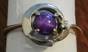 Vintage,10K White Gold. Genuine  Purple Star Sapphire Ring sz. 6.5. Not a Lindy.