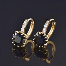 HUCHE Black Sapphire 24K Yellow Gold Filled Hoop Women Lady Engagement Earrings