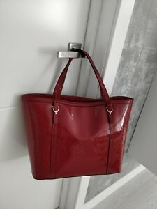 Gucci Nice Micro Guccissima Dark Red Patent Leather Tote Bag Shoulder 309613