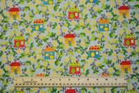 1/2 yard cotton quilt fabric Sweet Tweets colorful bird houses flowers vines sew