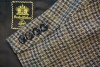Oxxford Clothes Cashmere Tweed Brown Orange Houndstooth Plaid Sport Coat Sz 41R