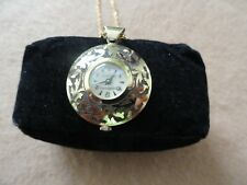 Swiss Made Vintage Mechanical Wind Up Golden Shield Necklace Pendant Watch