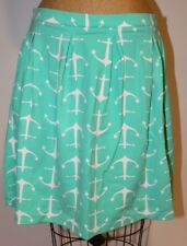 Sailor Sailor Just Madras Teal Blue & White Anchors Regatta Skirt Large L NWT