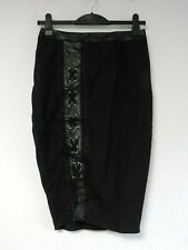 Missguided Black faux leather & lace eyelet midi skirt Size UK 10 DH191 ii 18