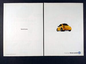 1999 VW Volkswagen New Beetle Turbo yellow car photo vintage print Ad