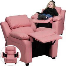 Flash Furniture Contemporary Pink Vinyl Padded Kids Recliner with Storage Arms